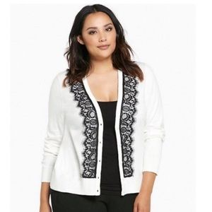 Torrid Ivory Black Lace Knit Button Down Cardigan